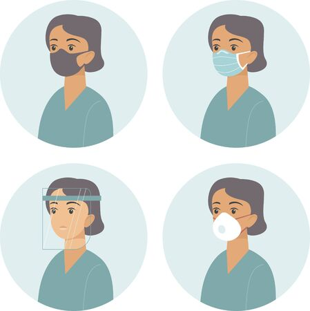 Different types of medical protective face gear. Flat vector concept for coronavirus COVID-19 outbreak