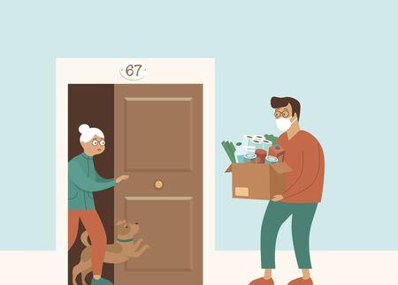 Épicerie fraîche et livraison de nourriture pour personnes âgées. Vieille Femme Senior Réception De Colis. Panier repas comme aide et soutien social. Volontariat. Service de commande en ligne pendant la quarantaine