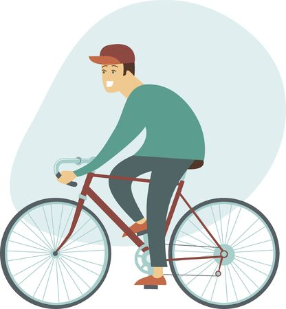 Cyclist. Young man riding bicycle. Flat Vector character design. Side view.