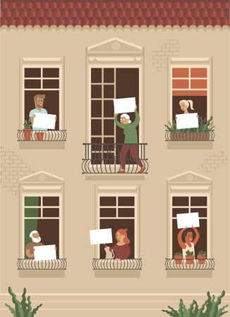 Neighbor people life through open windows. Housemates holding emplty boards. Community support. Vector illustration for coronavirus COVID-19 disease outbreak concept.