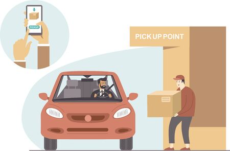 online orders and pick up pointconcept. Safe shopping during coronavirus COVID-19 quarantine. Flat vector concept Vettoriali