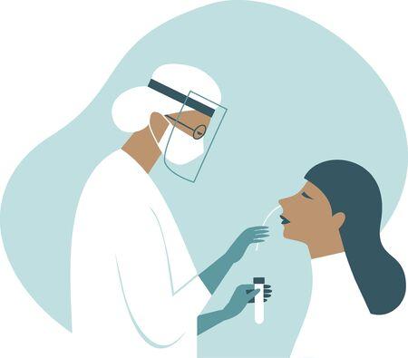 Coronavirus COVID-19 diagnostics. Doctor wearing full antiviral protective gear making nasal swab test for patient.Flat vector illustration.