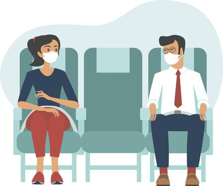 Passengers wearing protective medical masks travelby airplane.New seating regulations on flights.Travel during coronavirus COVID-19 disease outbreak. vector illustration
