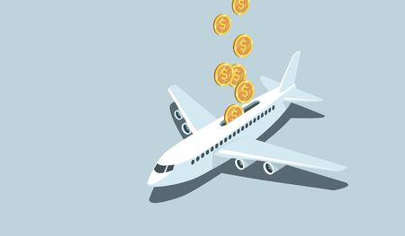 Financial supportto aviation industry bygovernment.Coronavirus COVID-19 crisis.Concept flat vector illustration  Ilustración de vector