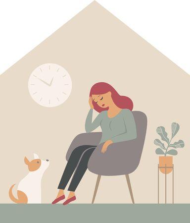The psychological impact of coronavirus quarantine lockdown. Woman sitting alone inside her house, feeling stress emotion, depression. Flat vector illustration Illustration