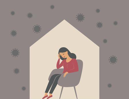 The psychological impact of coronavirus quarantine lockdown. Woman sitting alone inside her house, feeling stress emotion, depression. Flat vector illustration