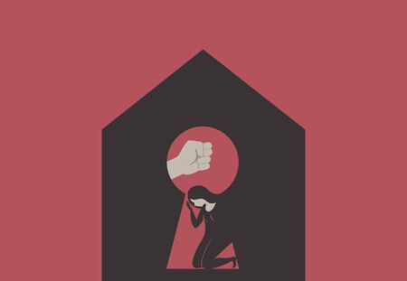 Domestic Violence during isolation.Silhouette of Male fist over scared woman through house keyhole. concept art illustration for coronavirus COVID-19 quarantine. Illustration