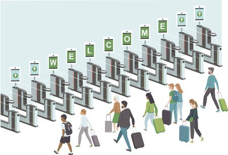 Crowd of happy passengers going through electronic gates in airport. opening borders after COVID-19 coronavirus lockdown. Flat vector illustration