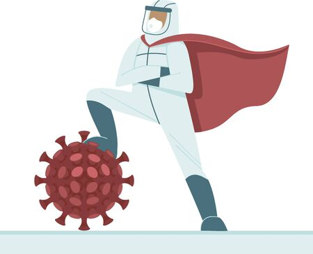 Doctor in full antiviral protective equipment wearing superhero red cape triumphs over coronavirus. Concept Flat vector illustration for COVID-19 outbreak