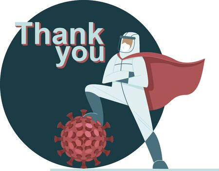 Doctor in full antiviral protective equipment wearing superhero red cape triumphs over coronavirus. Poster dedicated in honor of healh care workers who defeated the COVID-19 pandemic worldwide.Vector Иллюстрация