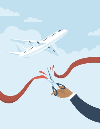 Human hand cuts red ribbon to start airlines flights again after coronavirus quarantine. Plane fly over blue sky on background. Concept flat vector illustration for COVID-19 outbreak.