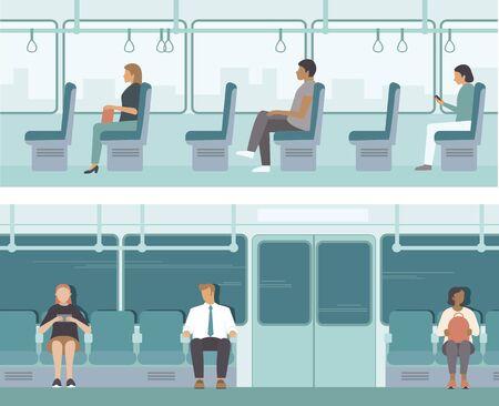 Urban public transport. Passengers inside tube car, bus or tram. City Passengers Transportation. Flat vector illustration set Illustration