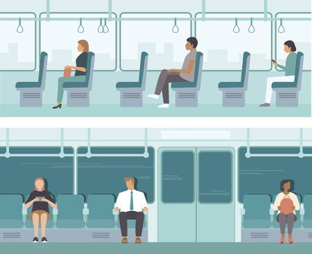 Urban public transport. Passengers inside tube car, bus or tram. City Passengers Transportation. Flat vector illustration set Stock Illustratie