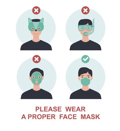 Please wear a proper face mask to avoid novel coronavirus covid-19 . warning or caution sign.Funny andTrendy vector illustration in flat cartoon style.