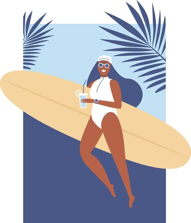 Surfer girl walking with board on the sandy beach drinking cocktail. Beautiful young woman at the beach. Active summer. Healthy Lifestyle. Surfing. Summer Vacation. Flat vector illustration. Illustration