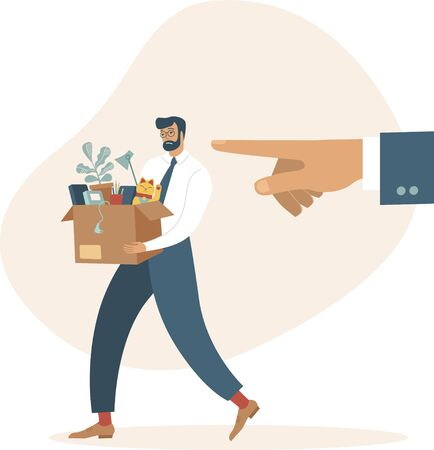 Boss dismisses employee. Fired sad man carrying a box with his belongings. Crisis, dismissal, unemployment, jobless and employee job reduction concept. Flat vector illustration. 向量圖像