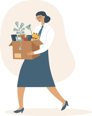 Fired sad woman carrying a box with her belongings. Crisis, dismissal, unemployment, jobless and employee job reduction concept. Flat vector illustration.
