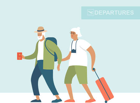 Senior age family ready to board at the airport departure area. Active grandparents traveling. Flat vector concept illustration of elderly travel and tourism.