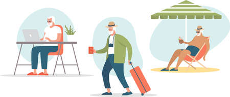 Senior age man booking trip or tickets online. Active grandpa traveling to hot tropical resorts. Flat vector concept illustration of elderly travel and tourism