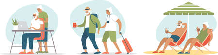 Senior age family booking trip or tickets online. Active grandparents traveling to hot tropical resorts. Flat vector concept illustration of elderly travel and tourism.