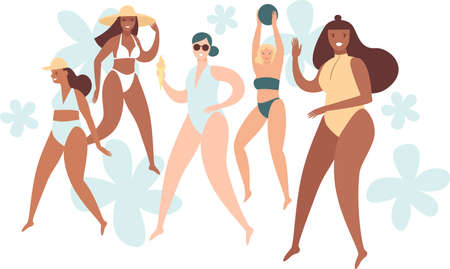 Various body positive girls wearing swimwear. Summer beach characters. Beauty diversity of different women. Vector flat style illustration