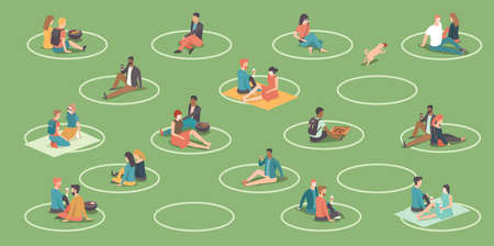People relaxing in the city park. Circles on the grass to help people keep social distance. BBQ area. Social distancing during coronavirus COVID-19 quarantine. Flat vector illustration
