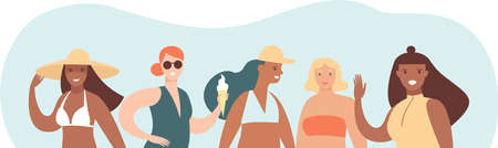 Happy young girls. Summer beach characters. Beauty diversity of different women. Cartoon characters. Vector flat style illustration