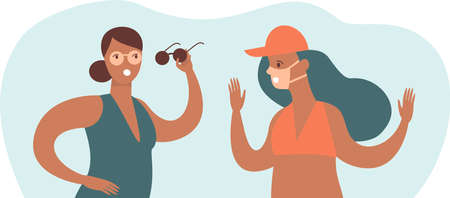 Two young girls with tan traces from sunglasses and medical protective mask. Concept flat vector illustration for COVID-19 coronavirus post quarantine summer 2020.