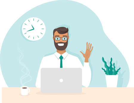 Young happy office worker having conference call via laptop. Home office. Stay at home and work from home concept during Coronavirus COVID-19 pandemic. Flat vector character illustration Vettoriali