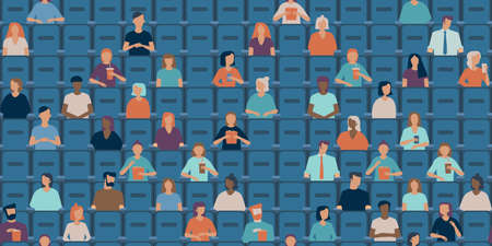 People are watching movie in a half empty cinema hall. Social distancing concept in public places after covid-19 coronavirus pandemic. Flat vector pattern