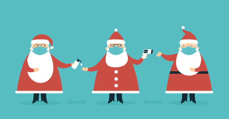 Santa Claus Characters wearing protective face mask using hand sanitizer measuring temperature. Keeping social distance. Safety tips for coronavirus Covid-19 2019-ncov pandemic on Christmas holidays Flat vector illustration set