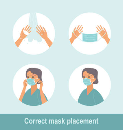 How to wear medical mask properly. Step by step infographic illustration of how to wear a surgical mask. Flat design illustration. Illustration
