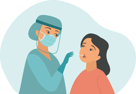 professional doctor nurse taking Covid-19 or Coronavirus test or DNA test to a young woman with nasal swab probe. cartoon character flat vector illustration
