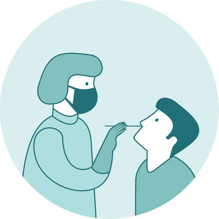 Coronavirus COVID-19 diagnostics. Doctor wearing full antiviral protective gear making nasal swab test for patient. COVID-19 testing site icon. Flat vector illustration Illustration