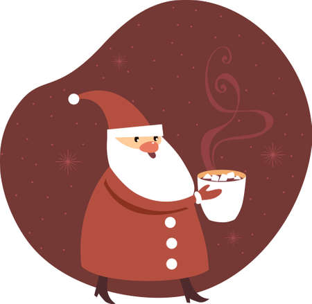 Santa Claus holding a big mug of mulled wine. Seasonal offer design for cafe or christmas fair. Flat vector illustration