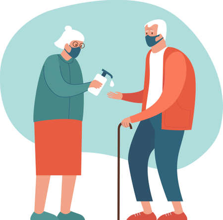 Safety measures for elderly people during coronavirus COVID-19 disease pandemic. Old couple wearing protective masks sanitizing hands.Flat vector cartoon illustration