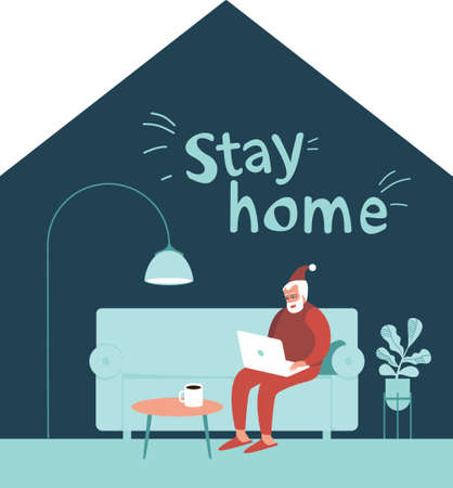 Stay home this Christmas. Santa Claus sitting at home alone on Christmas eve. Using laptop communicating with children on internet. Concept flat vector illustration