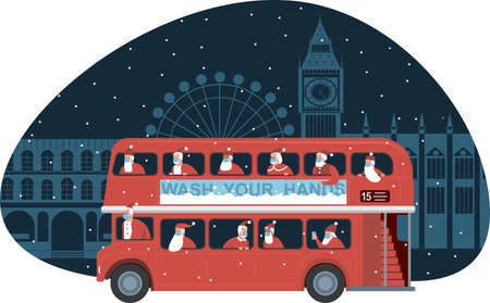 Traditional British red double decker bus full of Santas over Christmas London background. Safety measures during coronavirus COVID-19 quarantine on Christmas holidays. Vector illustration