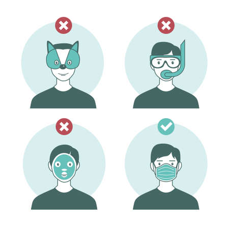 please wear a face mask to avoid covid-19 coronavirus. warning or caution sign.Funny and Trendy vector illustration in flat cartoon style. Illustration