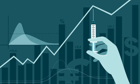 coronavirus COVID-19 2019-ncov vaccine discovery impact on stock market. Doctor hand in medical glove holding syringe with vaccine shot. Flat vector illustration
