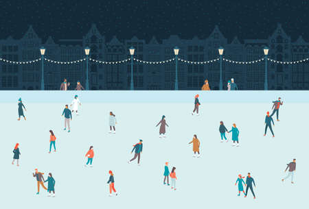 Happy people skating on the ice rink. Old city houses on the background. Christmas activities outdoors. Social distancing in public places. Public gathering concept. Cartoon flat vector Illustration