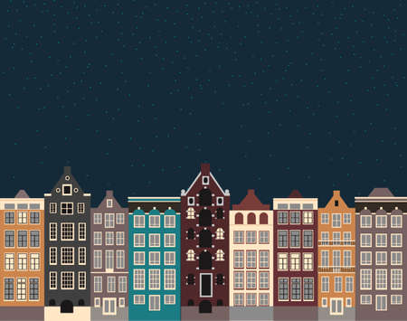 Winter night in the old town on the eve of Christmas. City street in winter. Old Europe street scene with Amsterdam style houses.Flat vector illustration