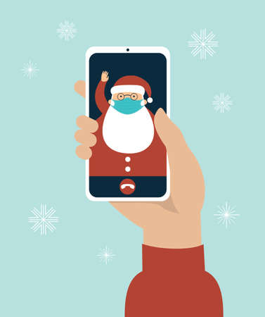 Human hand holding smart phone video call on the screen with Santa Claus wearing a protective medical mask. COVID-19 2019-ncov disease pandemic. Safety measures. Quarantine concept. Flat vector
