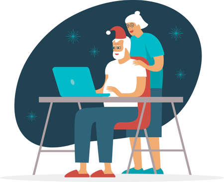 Senior Couple Using Laptop For Video Call With Family on Christmas holidays during COVID-19 2019-ncov quarantine. Social distancing and safe holidays concept. Flat vector illustration