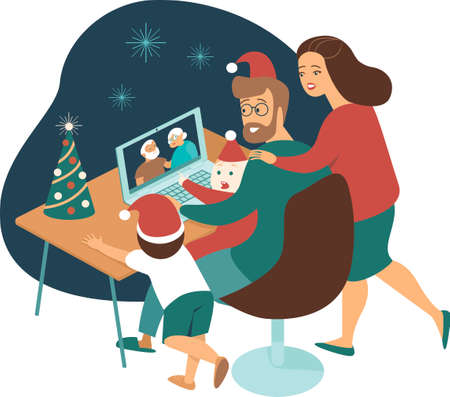 Young family with kids making a distant call to elderly parents on internet during quarantine on Christmas eve. Flat concept illustration for coronavirus covid-19 2019-ncov pandemic. Illustration
