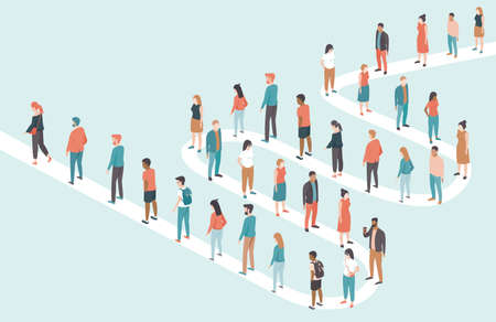 Large multiracial multiethnic group of people standing in long queues. Flat vector illustration