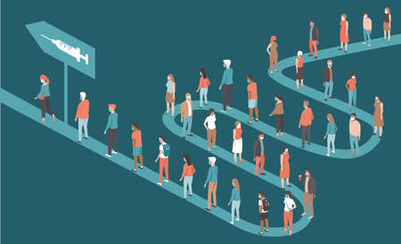 People standing in long queues to receive the vaccine against coronavirus covid-19. Mass vaccination campaign. Concept flat vector illustration