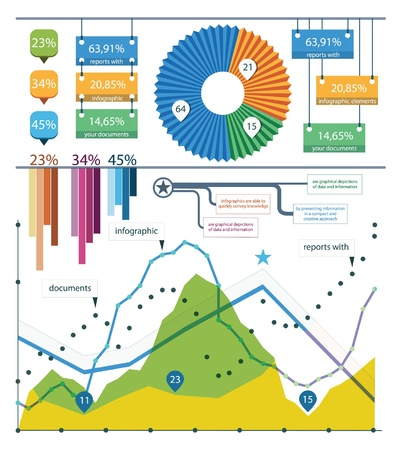 visualize: Impostare gli elementi di infografica Vettoriali