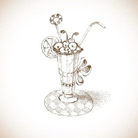 sweetshop: the glass sketch with a dessert Illustration