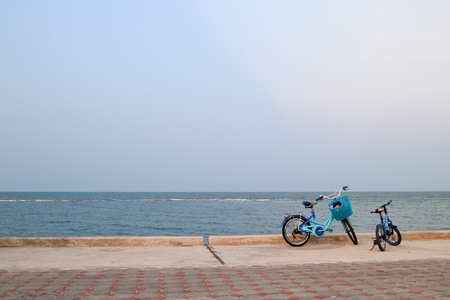 oceanic: Lonely bike of a traveller on oceanic beach,